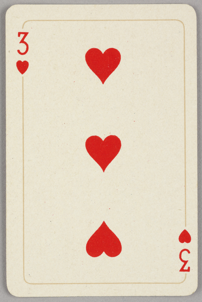 Card, Three of hearts, 1944–1945