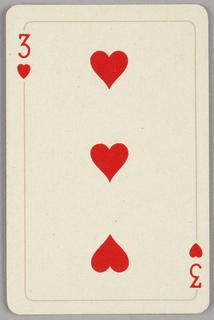 Card, Three of hearts, 1944–1945