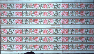 Narrow floral borders, printed six across. Red roses on vine.