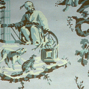 Chinoiserie, two different landscape vignettes, with each one alternating with its reversed image.