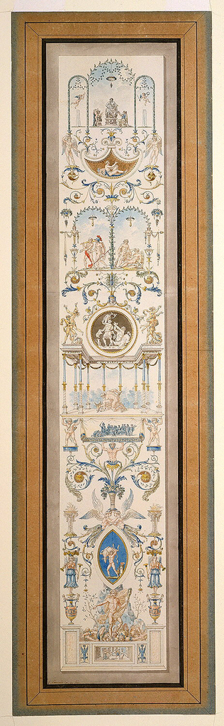 Design for a wall panel.  The composition shows episodes from the lives of Theseus, interspersed amidst a finely drawn, elaborate display of garlands, urns, nymphs, leafy arbors, pavilions and arabesques.  From the bottom up the scenes represent:  Theseus discovering the sword and sandals of his father, Theseus slaying the Minotaur, Theseus abducting Antiope, and Theseus being rescued by Hercules.