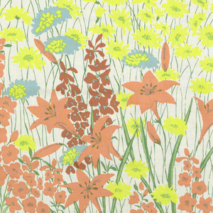 On white ground, all-over symmetrical pattern of daisies, tiger lilies and other flowers, printed in orange, brown, blue, and lime; trailing stems and leaves in two shades of green form a background.