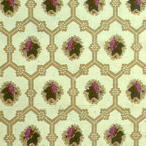"Small-scale diaper or honeycomb pattern with inset of petite purple flower. Printed in selvedge: ""953""."