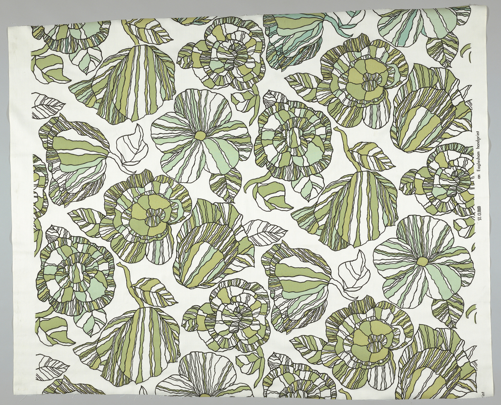 Leafy and floral forms outlined and filled with black wavy lines are printed with shades of green, light yellow and light blue.