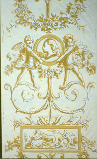 """Two putti figures holding cameo with bust, standing on delicate scrolls, with suspended cartouche. The cartouche contains a scene of a seated female with animal nursing baby animal, and 2 putti, one holding a bird on tether. Printed in brown, yellow ocher and white on tan ground. Printed in selvedge: """"Made in France""""."""