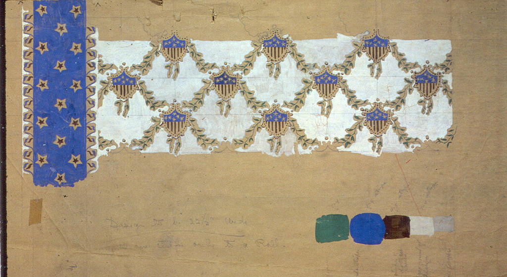 Hand painted design on brown craft paper. Small-scale shield motifs in red, white and blue connected by swags, on beige background. Along left edge is a blue band with small stars. Painted color swatches in lower right corner.