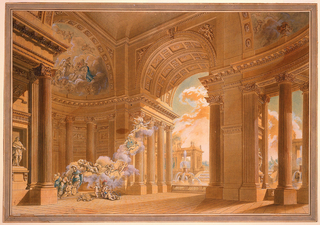 A large loggia shown from an oblique angle.  A large arch opens up into the outdoors.  A fountain and other buildings are visible just beyond the arch.  The interior of the loggia includes two large apses with half domes.  The walls are lined with fluted columns and pilasters.  Inside, at left, is a scene in which a hero in classical attire receives a wreath from Fortune and another gift from Architecture who is flanked by Painting and Sculpture in the apse at left.  Attributes of Music, Science, Justice, Commerce, Seafaring, and three putti are shown before the apse.  Fortune is accompanied on her clouds by putti; two carry a medallion with the monogram V S, and by Fame.  Apollo and the Muses are represented in the courts of the apse.