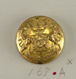 "circular button; coat of arms on shield, lion and unicorn, supporters, ribbon with motto, crown, crest of three helmets and an eagle.  On reverse, ""Firmin & Sons Ltd 153 Strand, London""; brass shank.  On card H"