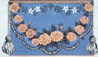 Design for wallpaper frieze. Simulates a drapery swag with row of pink roses and cording along bottom of drapery, with a tassel suspended from either end of swag. Printed on deep blue ground.