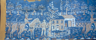 Partial side of bandbox, with horses, riders and stables.
