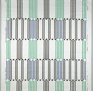 White cotton with a perpendicular pattern of stripes and dots in blue, green and black. Date marked on selvedge.
