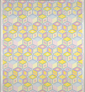 Diamond shapes of dots arranged so as to form boxes. Yellow, pink and blue on white.