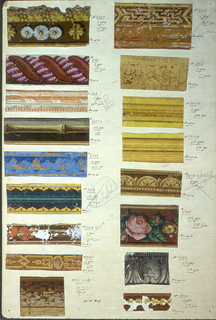 Seventeen swatches of narrow borders, including rope twist, architectural moldings, bamboo, egg and dart, oak leaf and acorn, beading, egg and leaf.