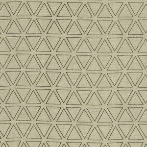 Line print of small tangent equilateral triangles in black on unbleached linen ground.