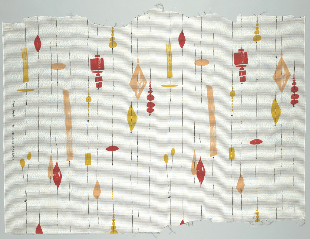 Wind chime motif in pink, red, yellow and black on white, horizontally ribbed ground.