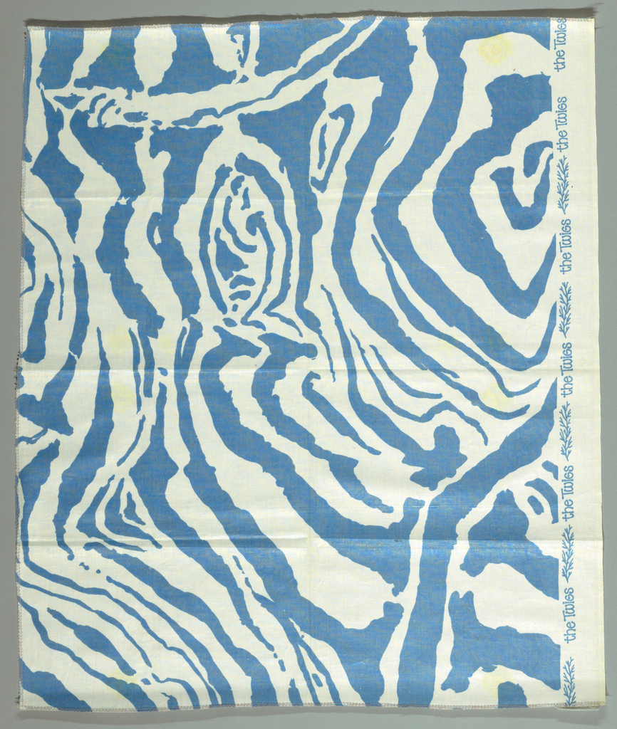 Swirling lines as on a zebra hide. A. Pink on white. B. Brown on cream. C. Blue on white.