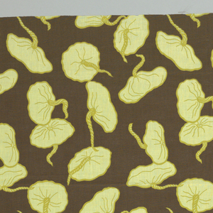 Squash blossoms with twisted stems in yellow and chartreuse on a brown background.