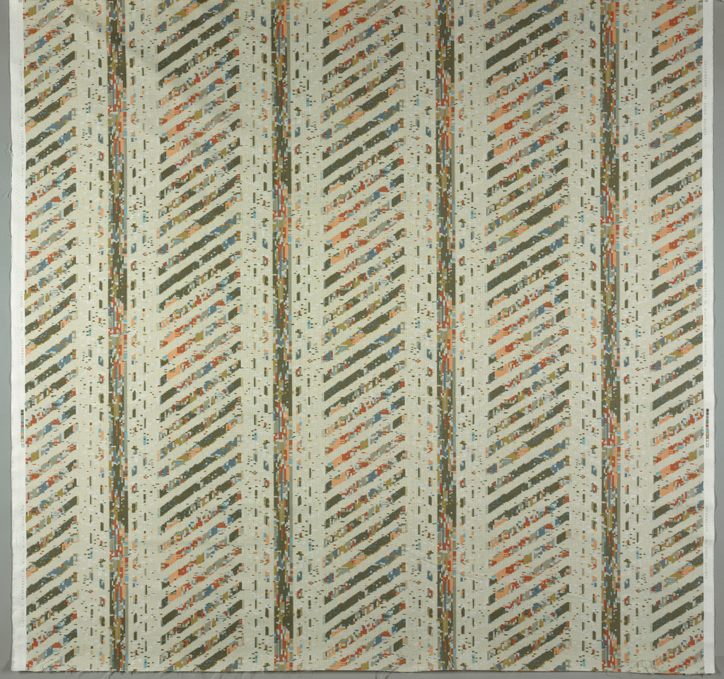 Stripes of small geometric configurations of boxes, dashes and dots. Greys, blues, cream, apricot and peach on white.