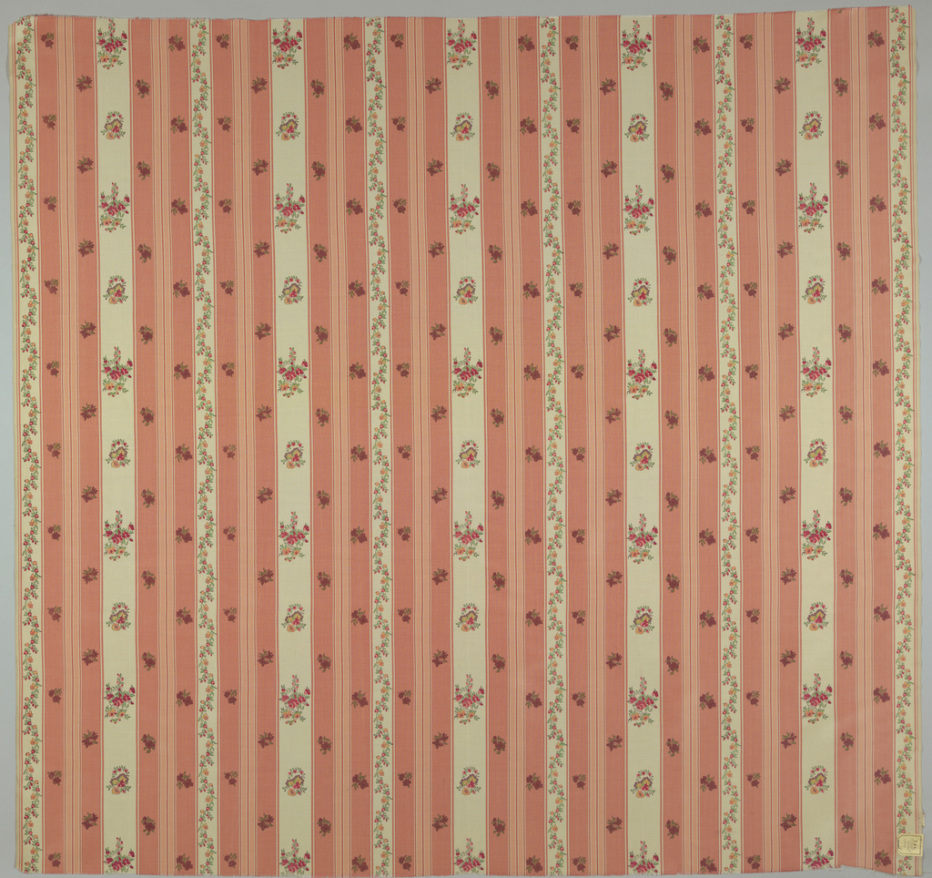 Ribbed silk with irregular alternating stripes of pink and white with tiny flowers printed in pastels.