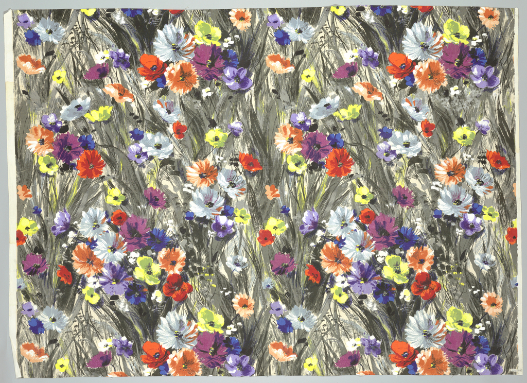 Impressionistic design of flowers in brilliant colors, with foliage in blacks and grays, almost completely covering white ground.