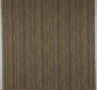 Vertical multicolor stripes woven to look as if they are painted.
