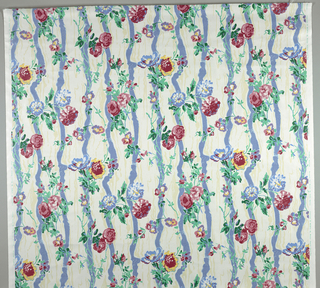 Sprays of flowers on a background of polka dotted ribbon. 2 greens, 2 blues, 2 lavendars, red, pink, yellow 2 creams on white.