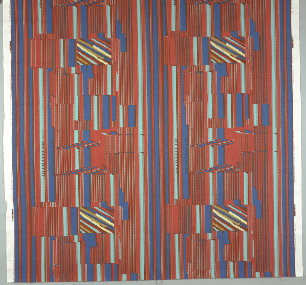 Stripes made up of small configuartions of boxes and smaller stripes with areas of diagonal lines. Black, blue, red, 2 browns, 2 pinks, 2 greens and aqua on white.