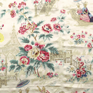 Beige satin printed in multi-colored design of figures in boats and on bridges and stairways against a background of flowering branches.