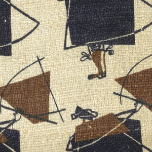 Highly stylized matador presenting his cape, in dark blue and brown on a natural linen ground.