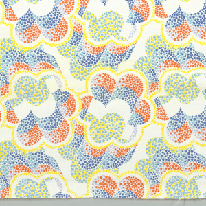 Floral shapes made of optically contrasting dots. Two blues, yellow, orange and lavender.