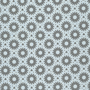 Pale blue with allover pattern of black rings and perforated dots of different diameters organized into a pattern of rosettes.