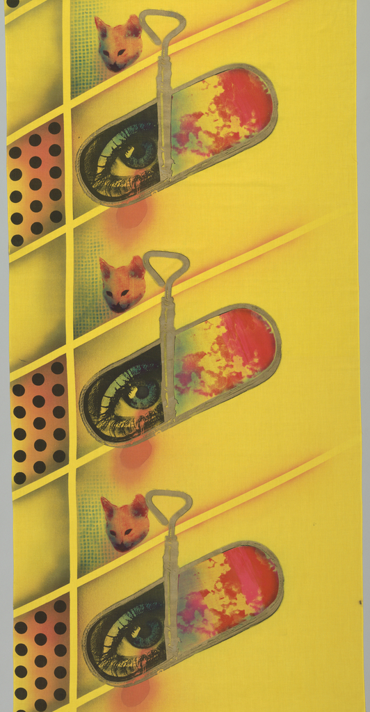 Small cat's head and large half-opened sardine tin containing human eye on grid with polka dots.