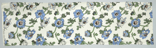 Short length of white silk printed in a design of natural-size anemones in blue, grey, green, dull rose with black outlines.