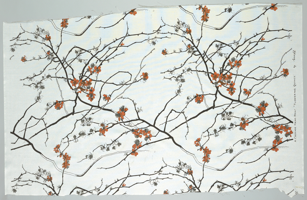 Flowering branches in the Japanese manner, in black and red on a white ground.