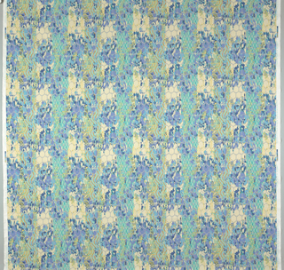 Pattern made by repetition and alternation of geometric forms. 4 blues, 2 greens, yellow, apricot, cream and grey.