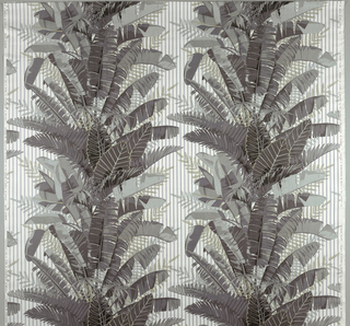 Parallel columns of palm leaves on a striped background. Four greys and beige on white.