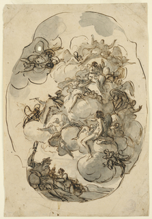 Oval frame with figures in clouds.