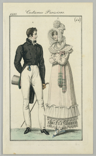 "Woman's and man's clothing ""à la angloise"" from Journal des Dames et Des Modes, 1815."