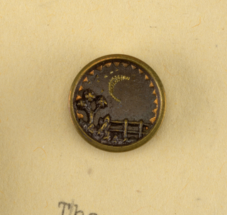 Metal button showing scene of a fence and a tree with a crescent moon  On Cooper-Union exhibition card 5