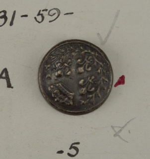 Button for government official showing three fleurs-des-lis and a crown.