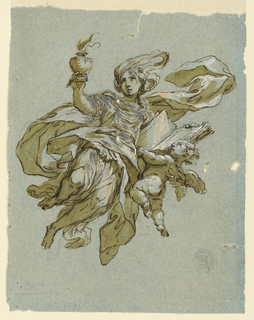 A flying girl riases an urn containing a fire with her right hand. In her left hand she holds a book, helped by a putto.
