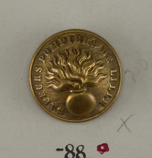 "Convex button with ornament of a flaming bomb shown on lined background and the words ""Sapeurs Pomiers de Lille"". Brass back and shank. On reverse, ""A.M. and Cie Paris"".  On card D"