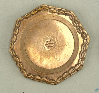 three flat, octagonal buttons; a and b ornmented with engraving, c with cast ornament.  Components -a/-c, -e are on card 47