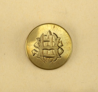 "20 brass circular buttons with engraved monogram A.S.H.  On back is ""Finnius & Sons 2nd Strand London"" 
