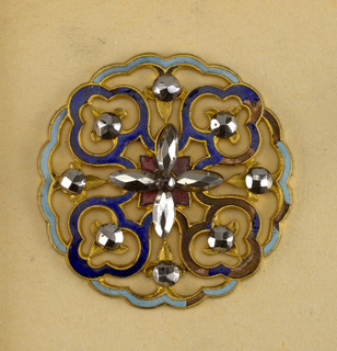 each button shows a design of four flowers [?] with cut steel centers, arranged around a central cross of cut steel; pierced work, ornamented with colored enamel.  Component -a is on card 10 Component -c is on Cooper Union Exhibition card 4