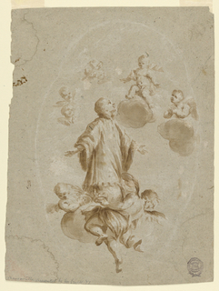 Two angels lift the cloud with the saint. The Christ Child sits above on a cloud. Beside is an adoring angel. At left are two groups of two cherubim.