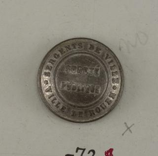 """Convex button with """"Surete Publique"""" in center and """"Sergents de ville, Ville de Rouen"""" around outside. On reverse: """"A M and Cie Paris""""  On card D"""