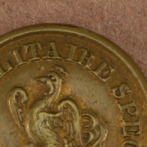 """Three buttons showing Gallic Cock and words """"Ecole Militaire Speciale"""" 1930-1852.  Component -a is on card i80 Component -b is on card C"""
