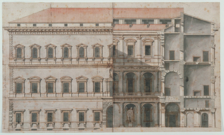 Elevation of a large, three-story building (Palazzo Farnese, Rome).  Northeastern half of elevation of the facade with northwestern half elevation of the court and section through northwestern wing.  Measurements inscribed.