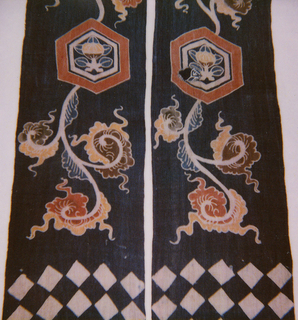 Two long and narrow selvage -to-selvage widths sewn together at center (for approximately 36 inches) to form a long and narrow panel with four free-flying ends that measures more than 15 feet. The panel was to decorate a horse used in a ceremonial parade. The decoration on the panel is the same on both sides with the design reversing at the center.   In the center, the part that wrapped around the horse's belly, there is a Japanese family crest, a bud surrounded by five leaves within a circle and more leaves. The next part, the area that crossed over the back of the horse and was anchored by the saddle, are polychrome frontal flowers on a blue and white linear background. The four flying streamers  have a repetition of the same family crest decorated with floral flourishes. Each streamer ends with a blue and white diagonal checkerboard pattern.